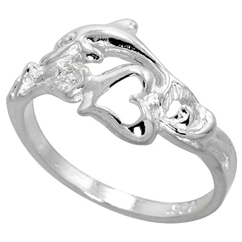 Sterling Silver Dolphin w/ Heart Ring Polished